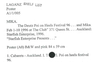 Index card for LAGANZ Poster A1/1/005 - The Deutz Poi on Heels Festival 96... and Mika.